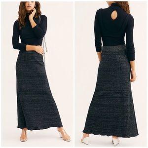 Free People Shine Bright Maxi Skirt Black Medium
